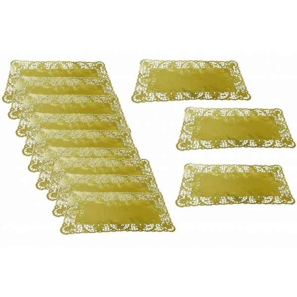 12x Tortenspitze eckig gold Torten Serviette Papier Spitze Deko Unterlage 40x20cm