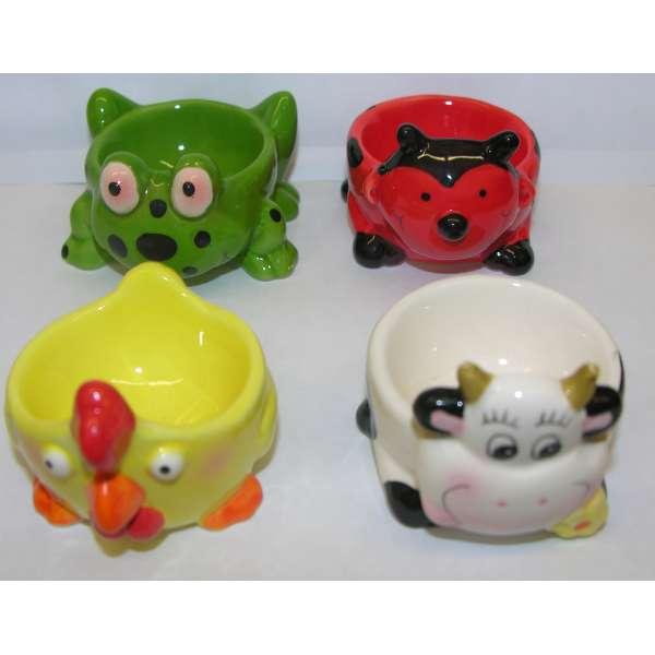 4er Set lustige Eierbecher Tiere aus Keramik Kuh, Huhn, Frosch, Marienkäfer SET