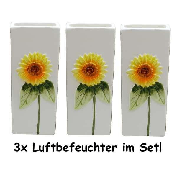 3x Wasserverdunster Luftbefeuchter Keramik Sonnen Blume eckig Verdunster Heizung