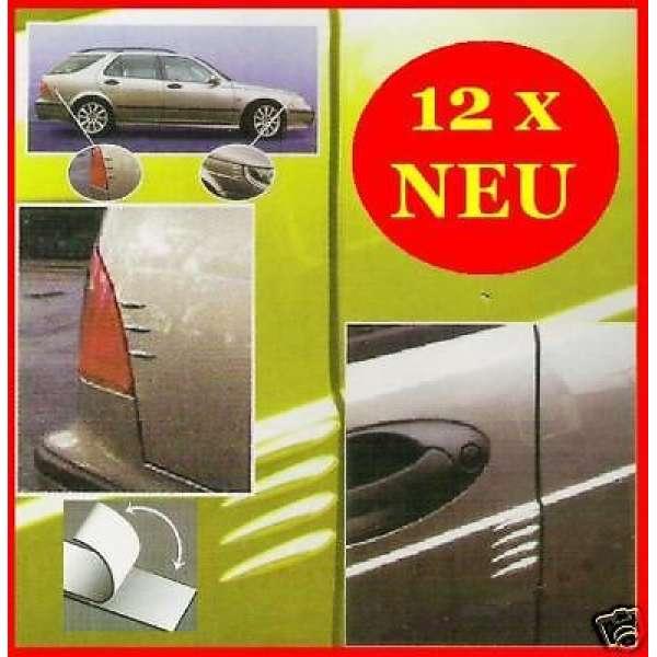 12x Türschutz Spoiler KFZ Kantenschutz CHROM Design Auto Stoßschutz Lackschutz