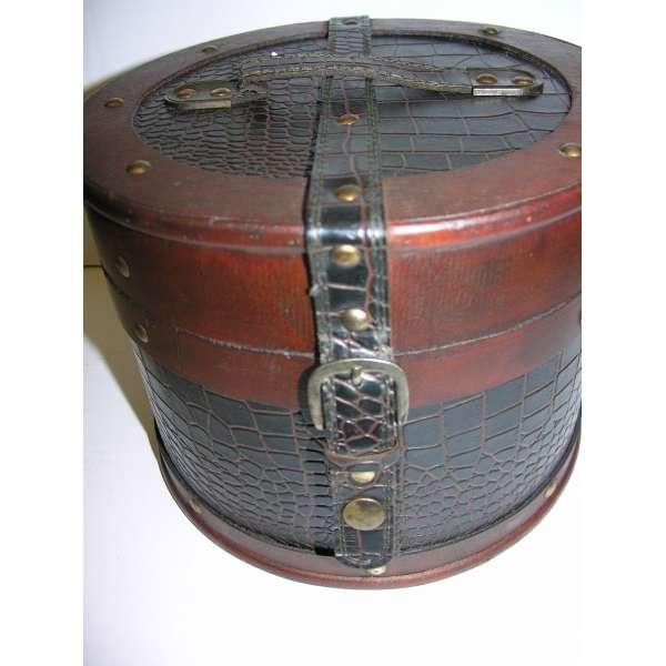 Nostalgischer Hutkoffer rund 18 cm Holz Leder Hutschachtel Antik-Stil Truhe Box