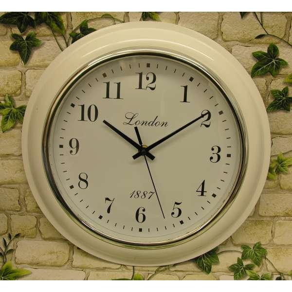 Wanduhr London weiss 32cm Bahnhofsuhr Büro-Uhr Retro Küchenuhr Nostalgie