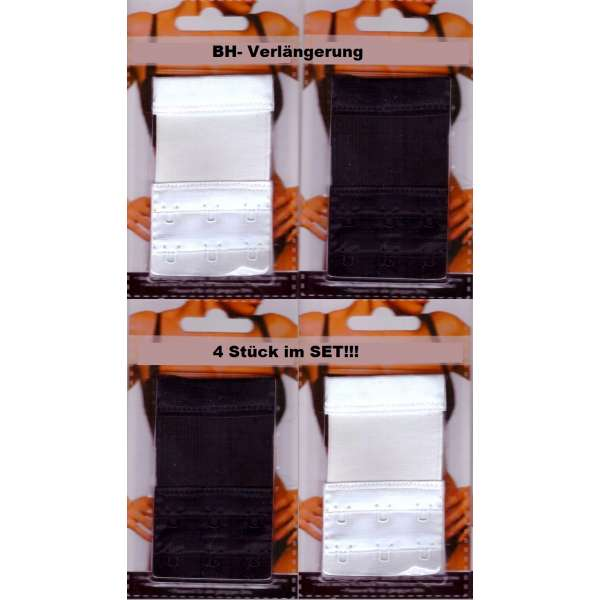 4x BH-Verlängerung-Erweiterung-Verschluss Set 3 Haken verstellbar schwarz/weiß