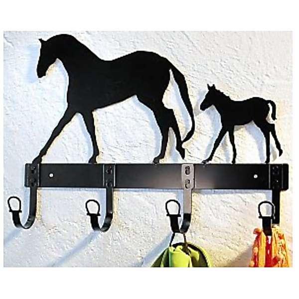 Wandgarderobe Pferd+Fohlen Metall Garderobe 4 Haken Hakenleiste 45×24cm schwarz
