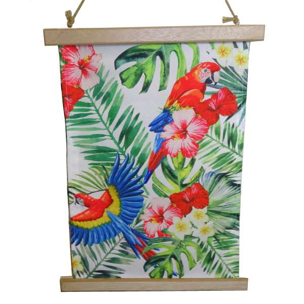 Wanddeko Tropic Papagei 1 Wandbild Deko Wand Bild Leinwand mit Holz Leisten bunt