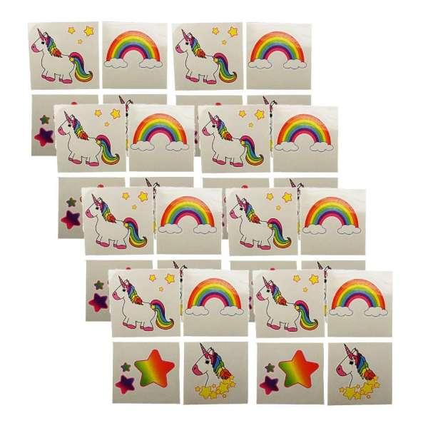 32x Einhorn Unicorn Einmal Tattoo Kinder Mitgebsel Kindergeburtstag Party Tombola