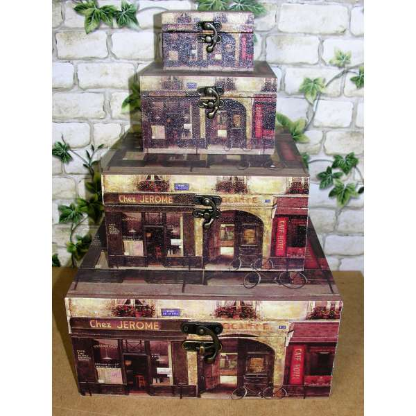 4er Set Holzboxen Chez Jerome Geschenkbox m. Leinwand Druck Aufbewahrung Schmuckschatulle