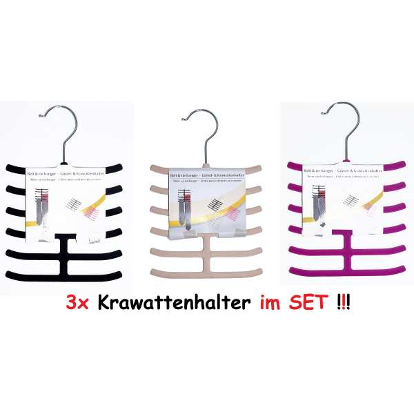 3er Set Krawattenhalter Gürtelhalter Schalhalter Krawattenbügel Schmuckhalter