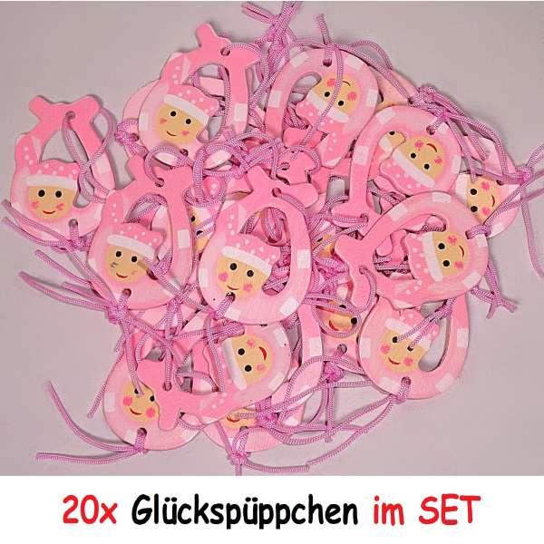 20x Anhänger Mitgebsel Geburt Taufe Baby Party Glücksbringer Geschenk aus Holz rosa