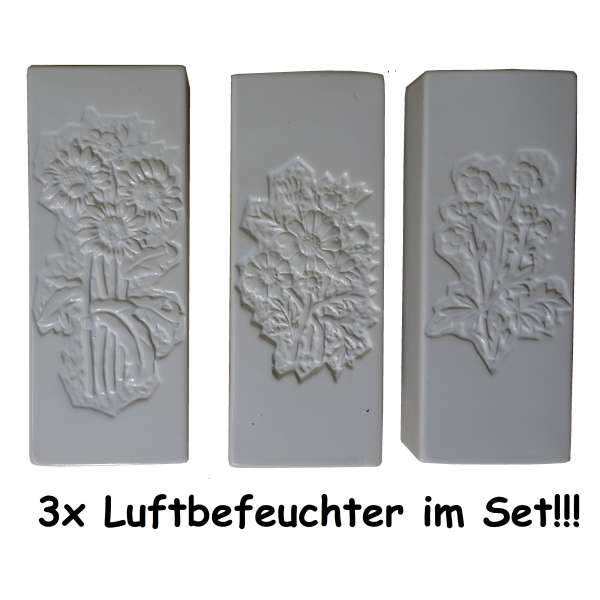 3x Wasserverdunster Luftbefeuchter Keramik Blumen weiss Wasser Verdunster Heizung