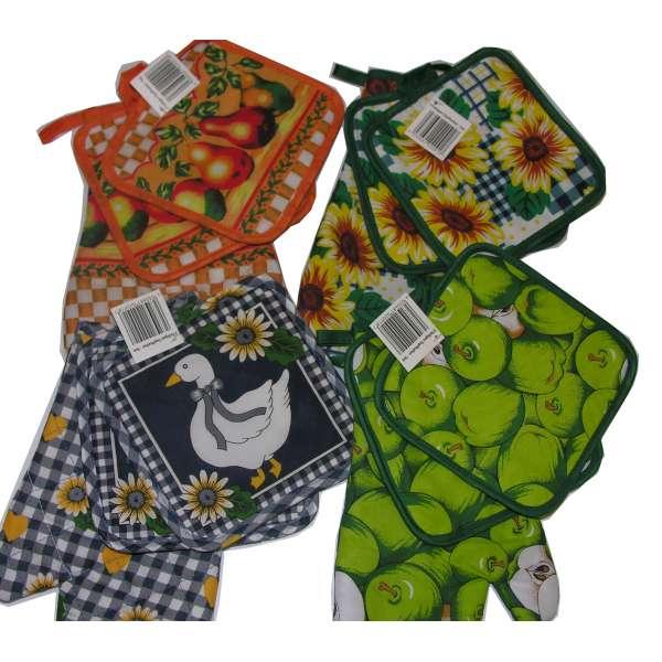 Ofenhandschuh und Topflappen 3er SET Back-Handschuh Pfannenhalter Topfhandschuh