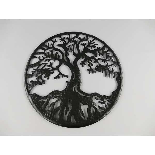 Wanddeko Baum mit Wurzel Wandbild Hauswand Deko Wand Bild Metall Blech schwarz ca. 54cm