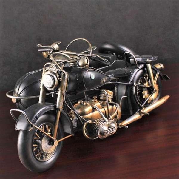Großes Modell Motorrad mit Beiwagen 36x25 cm Fahrzeug Retro Antik Stil Oldtimer