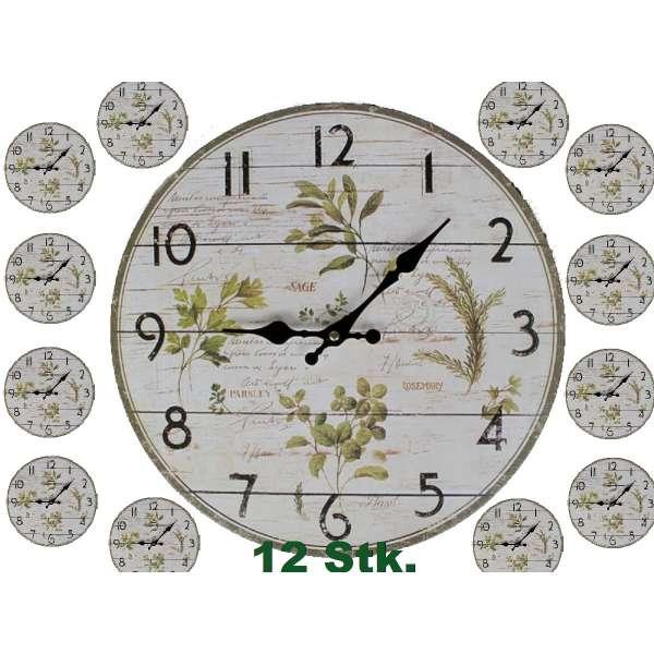 Posten 12 Stk. Wanduhren Kräuter ca.33cm Holz Küchenuhr B2B Wanduhr Uhr Holz Tombola