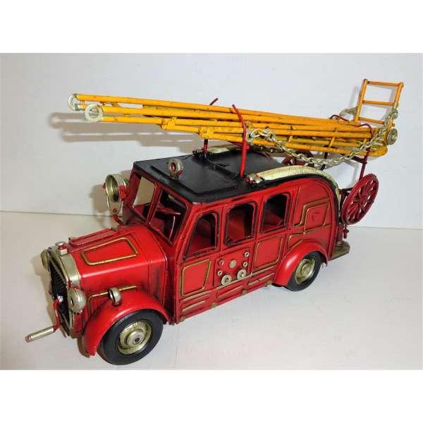 Modell Auto Feuerwehr Blech 31cm Oldtimer Feuerwehrauto Deko Retro Stil Leiterwagen