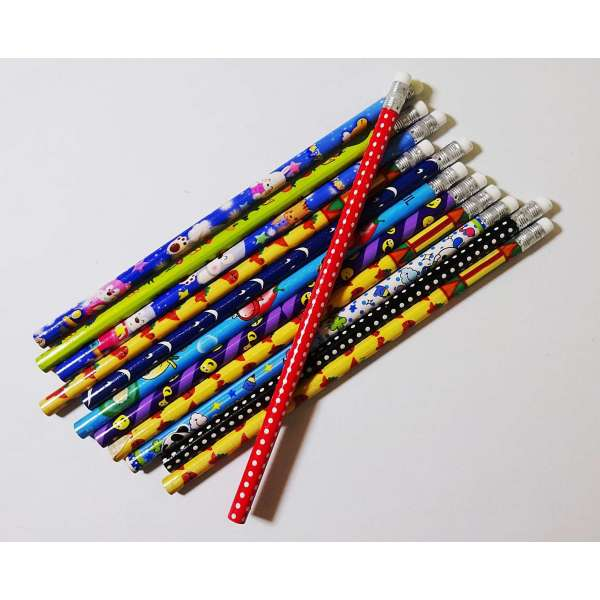 12x Bleistifte gemischte Motive Stift Schreibstift mit Radierer Schule Zeichnen ca.19cm