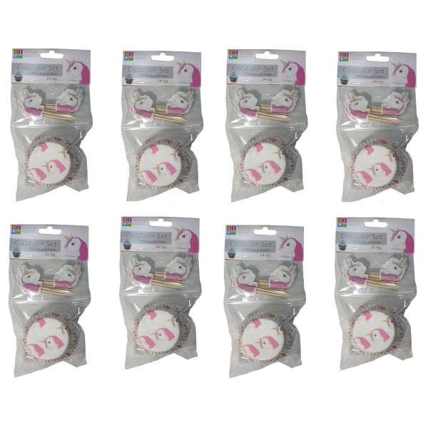 8x 24er Set Cupcakeform mit Schild EINHORN Muffinförmchen Muffin Backform Papier
