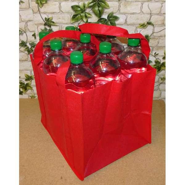 Flaschenträger für 9 Flaschen Tragetasche Bottlebag Flaschentasche Tasche rot 27cm