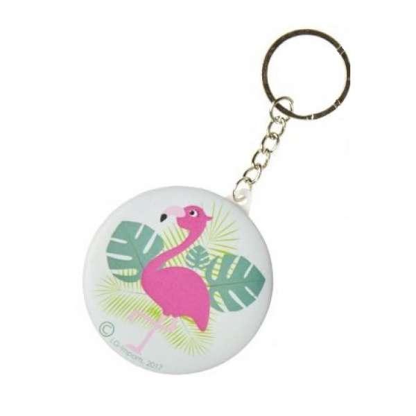 Schlüsselanhänger Flamingo Farn Taschen- Schmink- Spiegel Anhänger rund türkis
