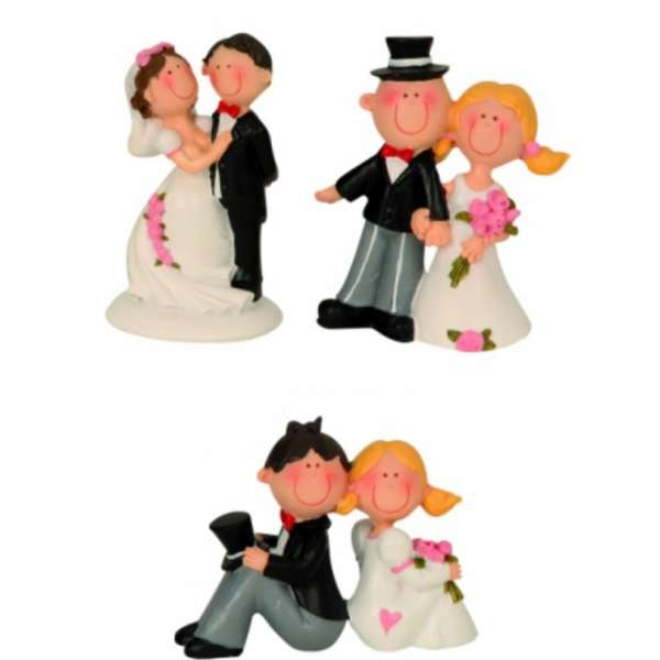3er Set Lustiges Hochzeitspaar Brautpaar 6-8cm Auswahl Tisch-Deko Torten-Aufsatz