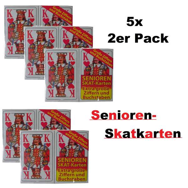 10x 32 Blatt SENIOREN SKAT-KARTEN Spiel Karten Skatkarten französisches Blatt
