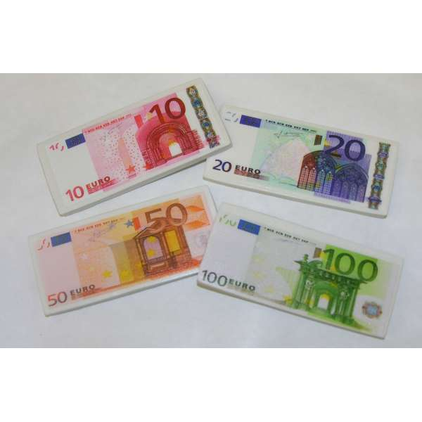 4er Pack Radiergummis EURO Geld Scheine Radiergummi Radierer Mitgebsel