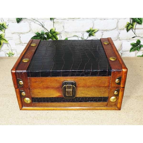 Aufbewahrungskiste Box Aufbewahrung Deko Truhe Holz Kunstleder Antik 22cm breit