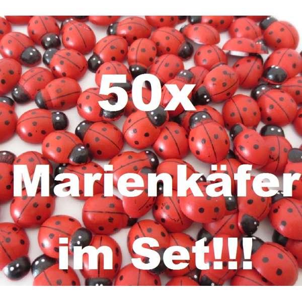 50x Marienkäfer Glücksbringer Deko Streuteile Aufkleber Holz selbstklebend