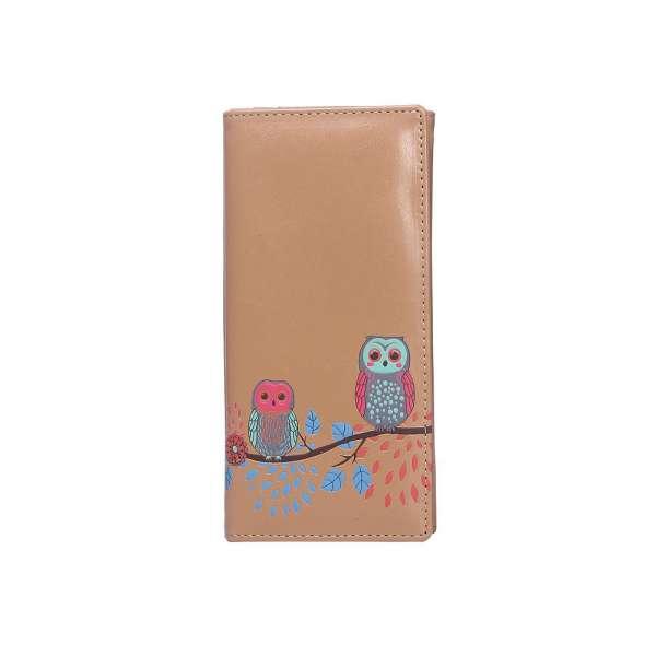 Damen Geldbörse XL Retro Eulen Braun Owls Geldbeutel Langbörse Brieftasche