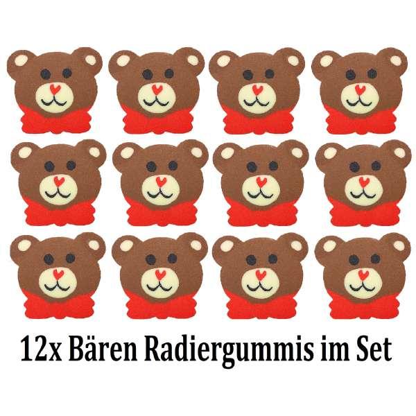 12er Set Bär Teddy Radiergummi Radierer Mitgebsel Kindergeburtstag Party Tombola