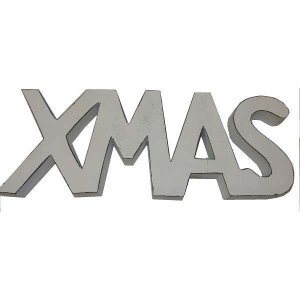 Schriftzug XMAS Mango Holz Weihnachten Weihnachtsdeko Deko Aufsteller 15x39cm