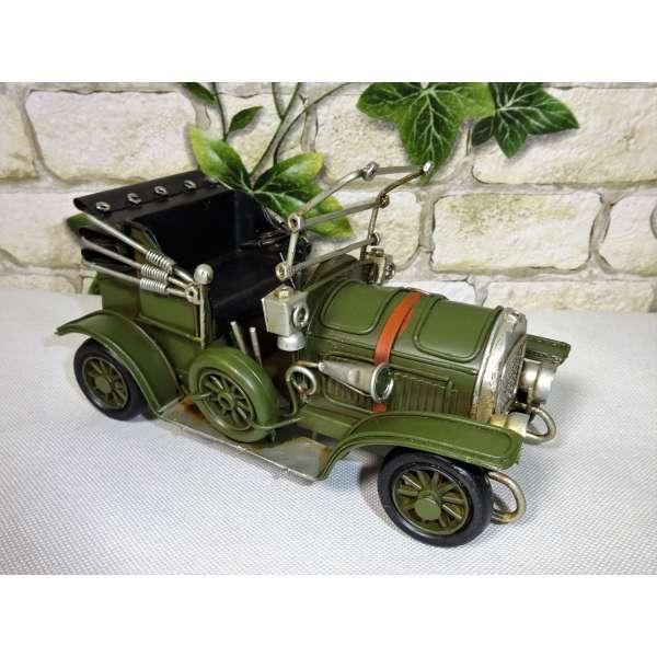 Modell Auto Oldtimer Cabrio mit Laterne grün 16cm aus Blech Metall Retro Stil Shabby