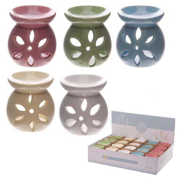Kleine Keramik Duftlampe Blumen Design 7,5cm Aromalampe Duftöl Lampe Teelicht