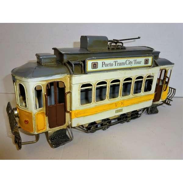 Blech Modell Lissabon Porto Tram 33cm Straßenbahn Retro Antik Stil Bahn Nostalgie Deko