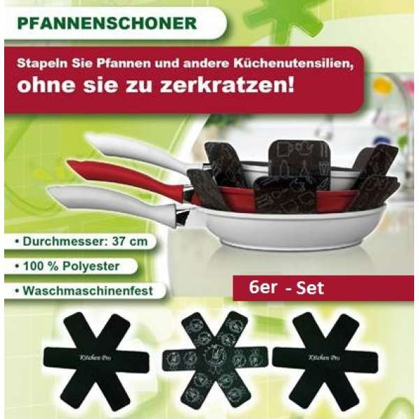 6x PROTEGE Pfannenschutz Pfannen Einlage Stapelschutz Kratzschutz Schoner
