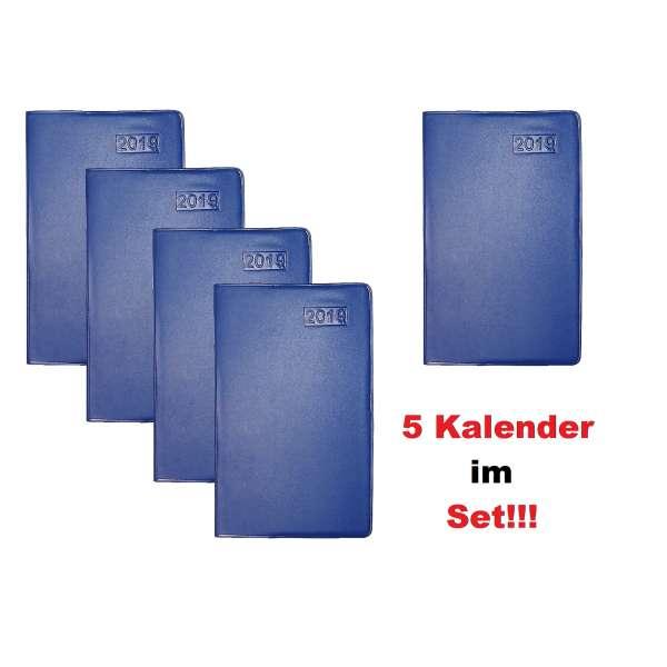 5x Taschenkalender Kalender 2019 blau Organizer Business Planer Timer im Set
