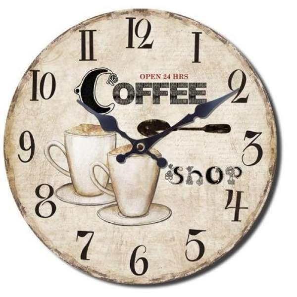 Wanduhr Coffee Shop ca.34cm Holz Kaffee Küchen Uhr Kaffeetasse ...