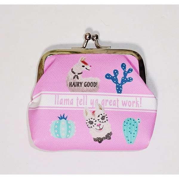 Mini Lama Geldbörse mit Clip Kinder Portmonee Portemonnaie Geldbeutel Clutch rosa