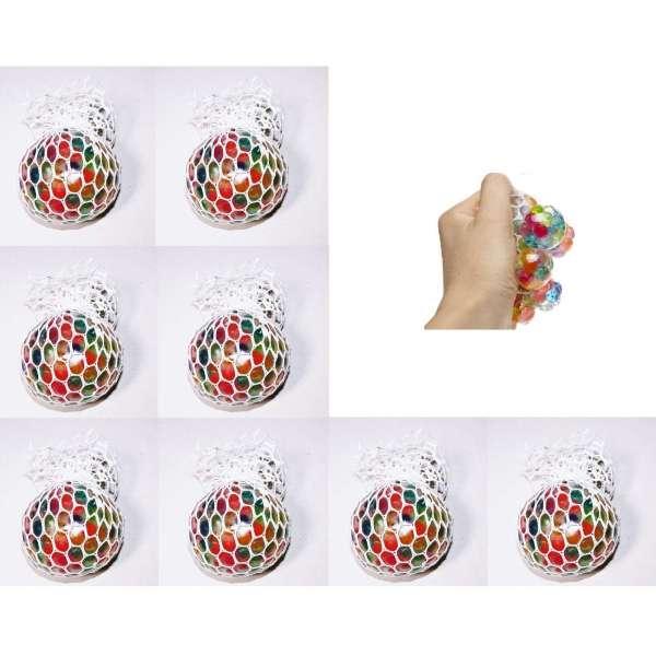 8er Set Quetschball Mini Anti Stressball Knautschball Stress Knet Ball Netz bunt