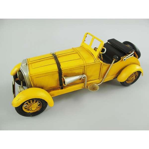 Modell Auto Oldtimer Cabrio Sportwagen Gelb 26cm aus Blech Metall Retro Stil Shabby