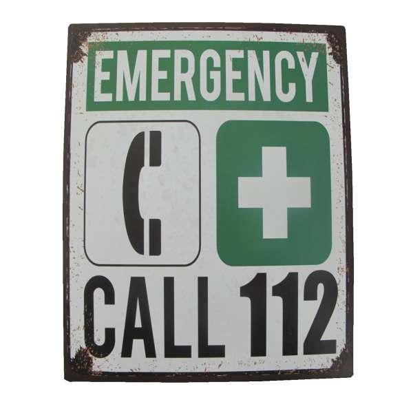 Blechschild Emergency Call 112 Notruf Tür Wand Schild Metall Retro Nostalgie Blech
