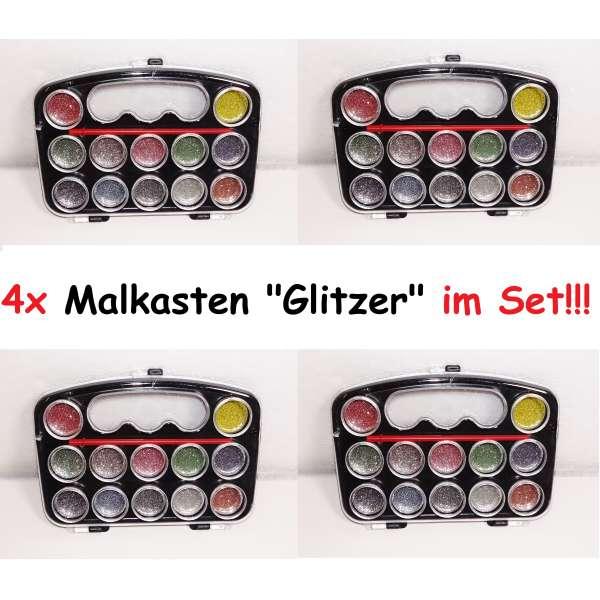 4x 13tlg Malkasten Wasserfarben Pinsel Farbpalette Farbkasten Glitzer Malen Kunst