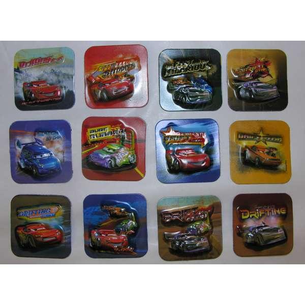 12x Disney PIXAR Cars 3D Relief Magnete magnetische Sticker 5x5cm verschiedene Designs