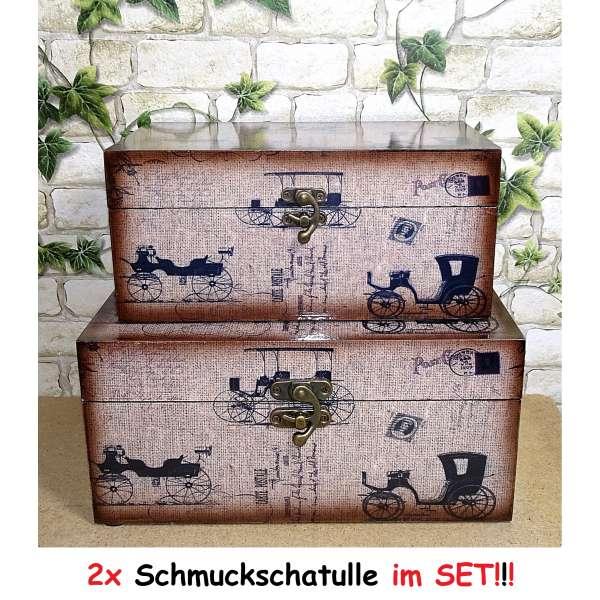 2x Schmuckschatulle im Set Kästchen Aufbewahrungsbox Schatulle Holz Kiste Box Deko