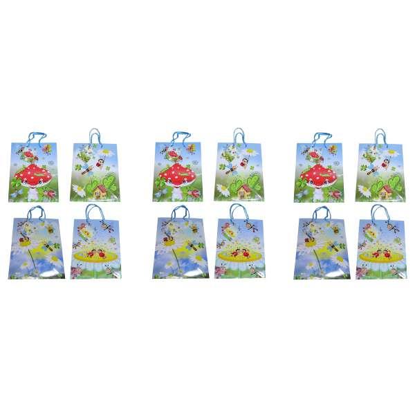 12x Geschenktüte Geschenktasche Medium Kinder Geburtstag Kunststoff 4 Designs