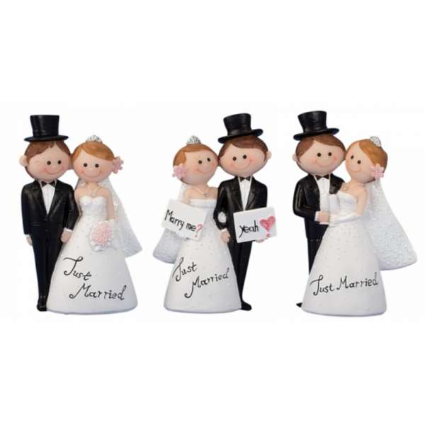 3tlg. Set Hochzeitspaar Brautpaar Just married Tisch-Deko Torten-Aufsatz Deko