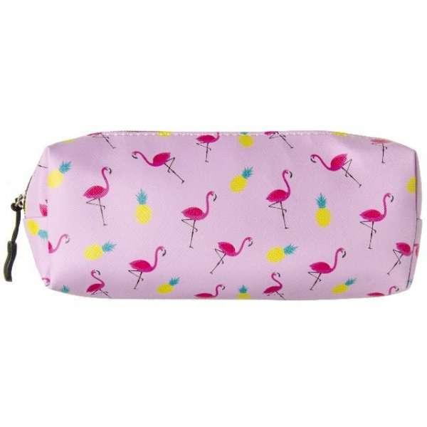 Federmappe Flamingo Ananas Schule Schlamperrolle Federtasche Faulenzer rosa 21cm