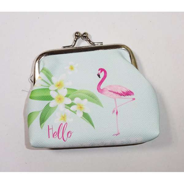 Mini Flamingo Geldbörse Kinder Portmonee Portemonnaie Geldbeutel Clutch hell grün