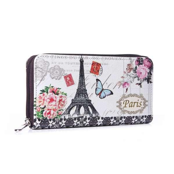 Damen Geldbörse XL Paris Schmetterling Portmonee Geldbeutel Langbörse Brieftasche