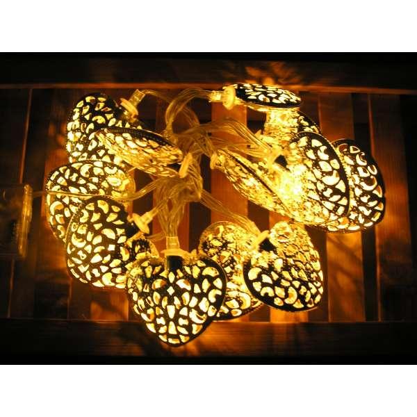 LED Lichterkette silbernes Herz 12 Leuchten warmweiß weiss Batteriebetrieb Deko